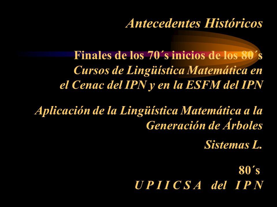 Antecedentes Históricos Finales de los 70´s inicios de los 80´s Cursos de Lingüística Matemática en el Cenac del IPN y en la ESFM del IPN Aplicación de la Lingüística Matemática a la Generación de Árboles Sistemas L.