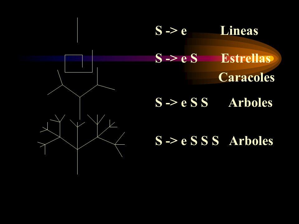 S -> e Lineas S -> e S Estrellas. Caracoles.