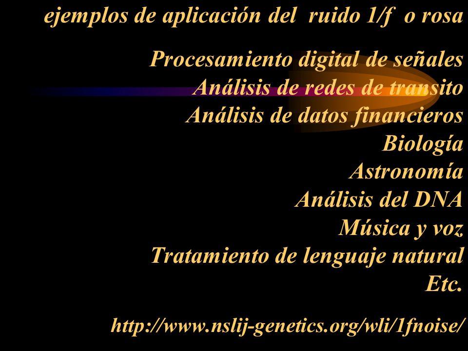 ejemplos de aplicación del ruido 1/f o rosa Procesamiento digital de señales Análisis de redes de transito Análisis de datos financieros Biología Astronomía Análisis del DNA Música y voz Tratamiento de lenguaje natural Etc.
