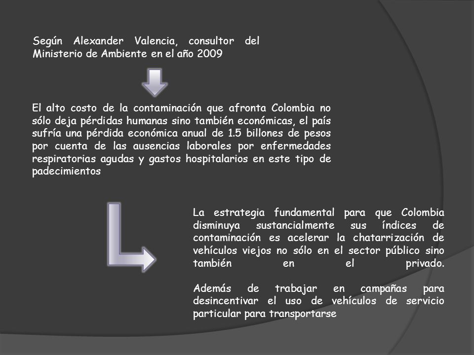 Según Alexander Valencia, consultor del Ministerio de Ambiente en el año 2009