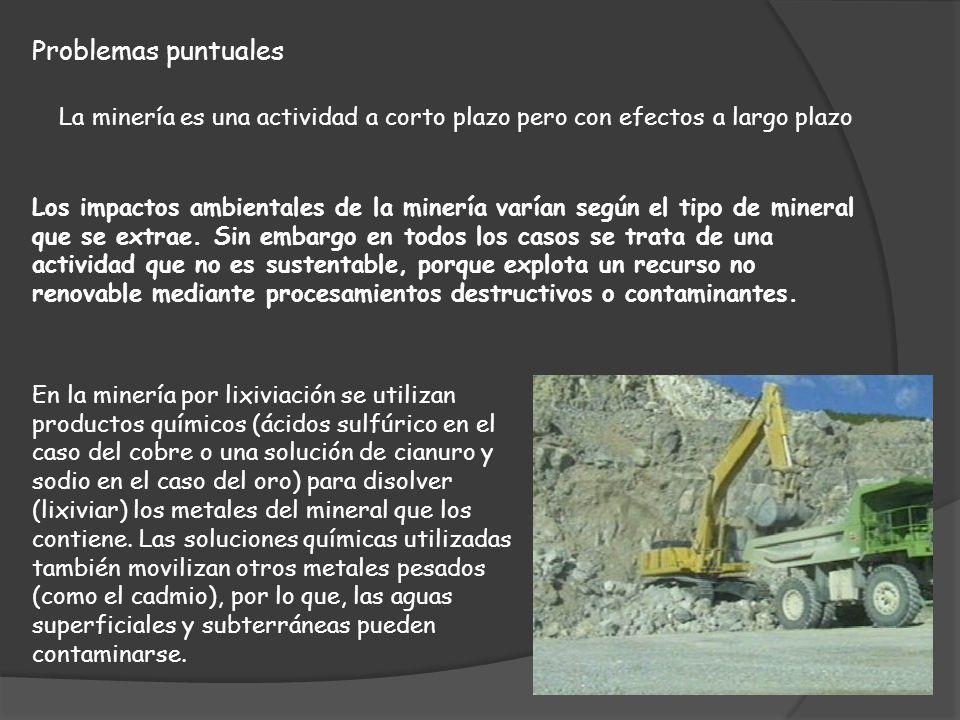 Problemas puntuales La minería es una actividad a corto plazo pero con efectos a largo plazo.