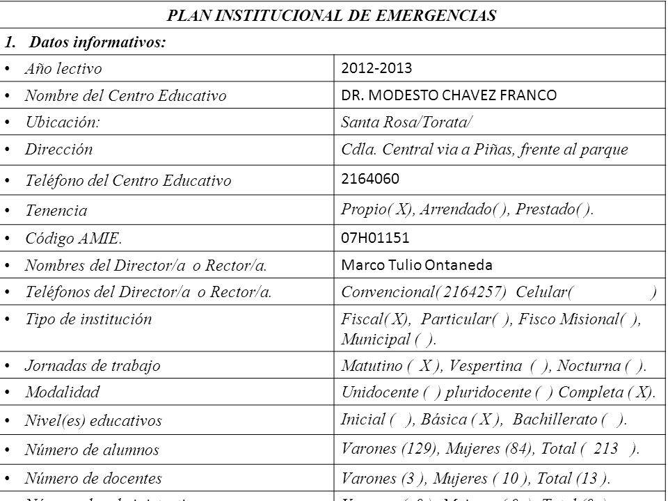 PLAN INSTITUCIONAL DE EMERGENCIAS
