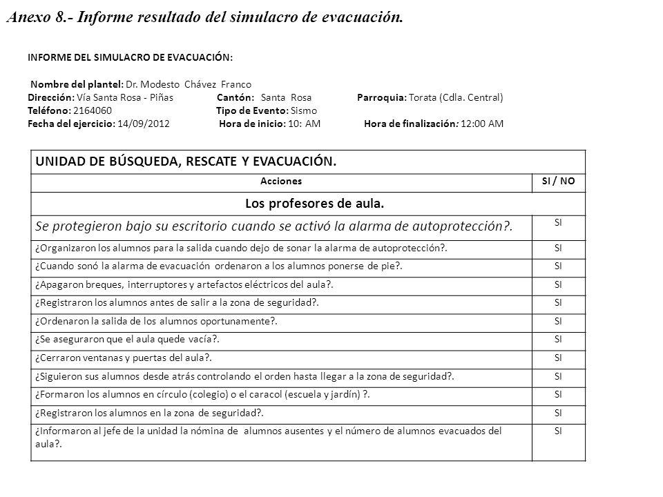 Anexo 8.- Informe resultado del simulacro de evacuación.