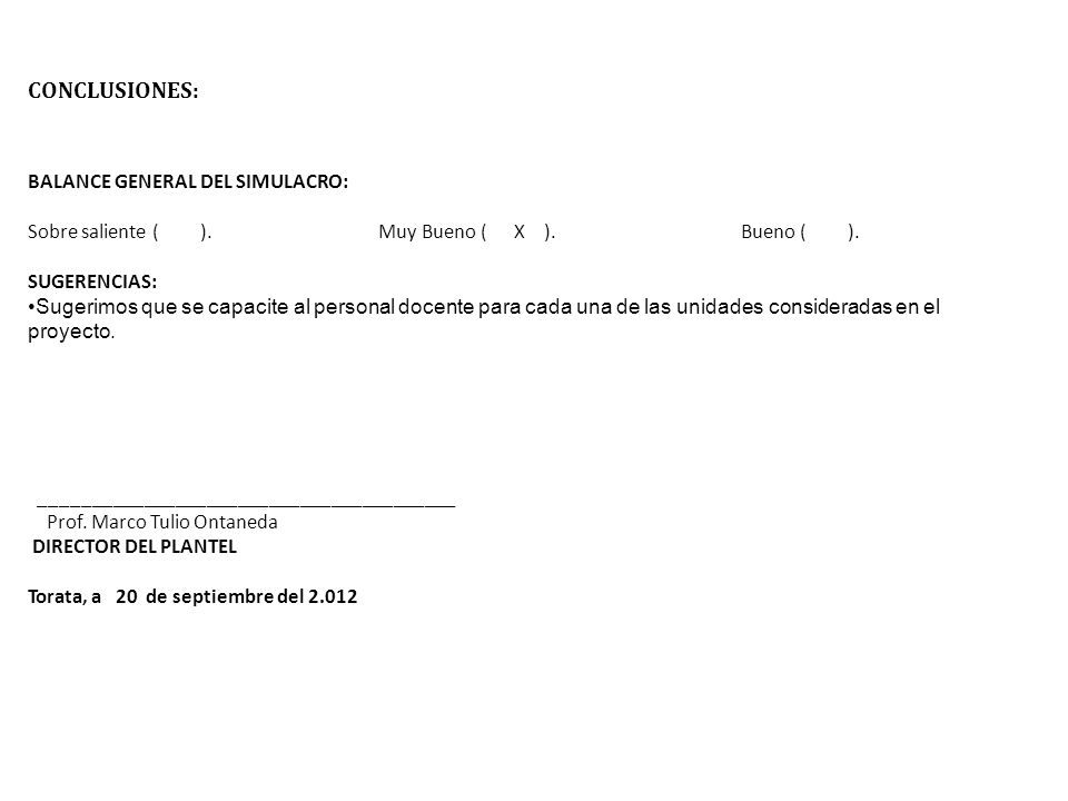 CONCLUSIONES: BALANCE GENERAL DEL SIMULACRO: