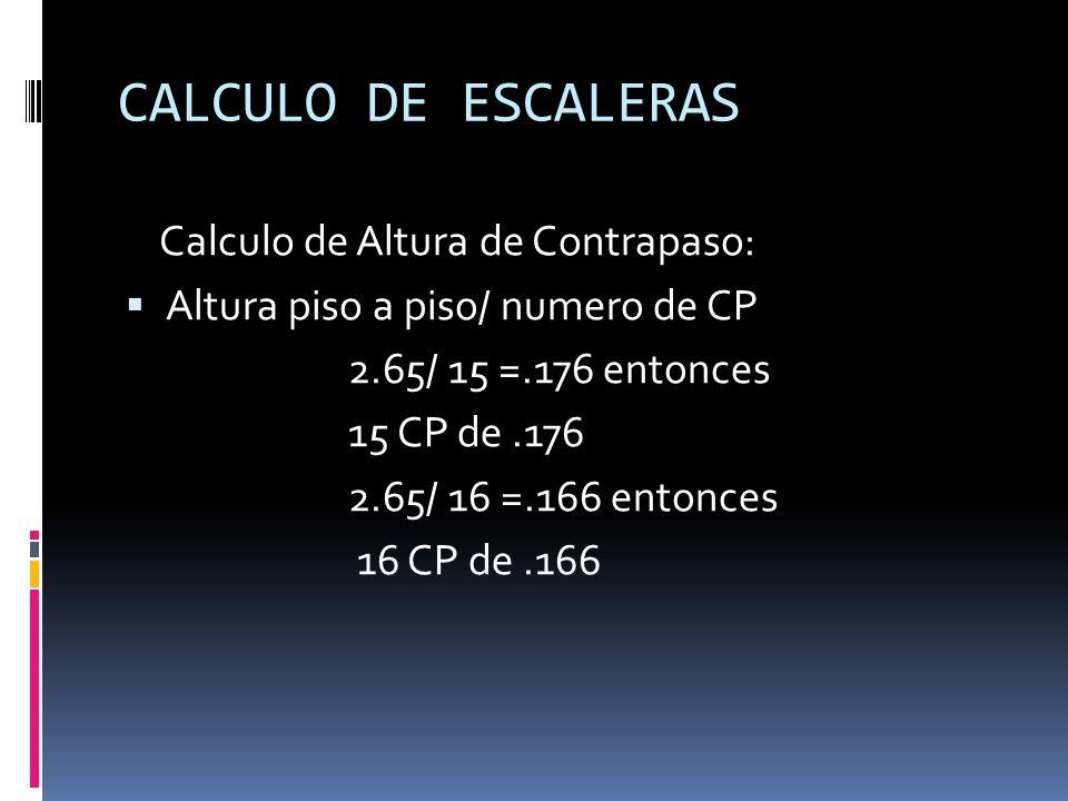 CALCULO DE ESCALERAS Calculo de Altura de Contrapaso: