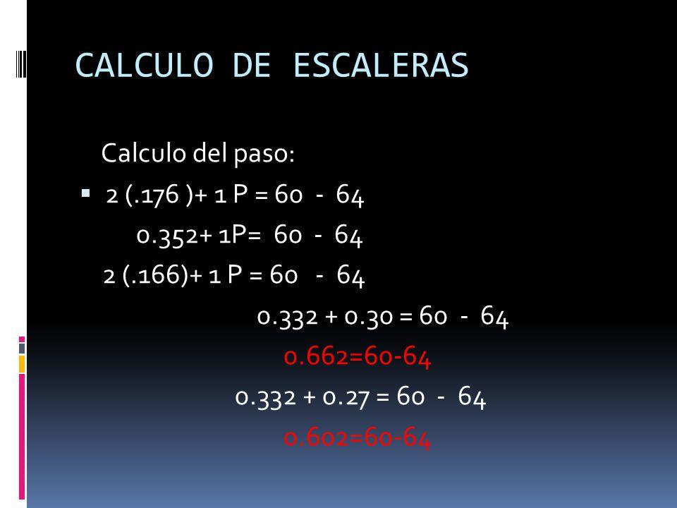 CALCULO DE ESCALERAS Calculo del paso: 2 (.176 )+ 1 P = 60 - 64