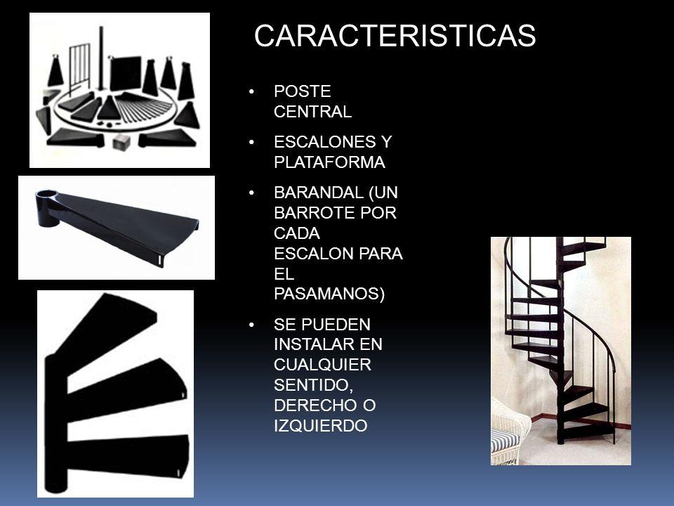 CARACTERISTICAS POSTE CENTRAL ESCALONES Y PLATAFORMA