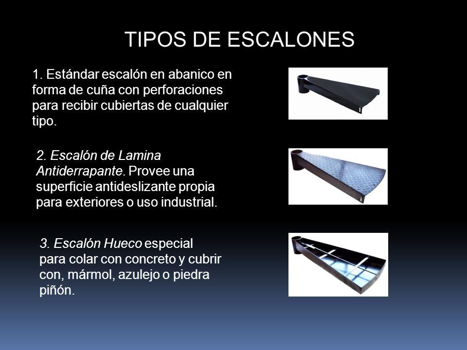 TIPOS DE ESCALONES 1. Estándar escalón en abanico en forma de cuña con perforaciones para recibir cubiertas de cualquier tipo.