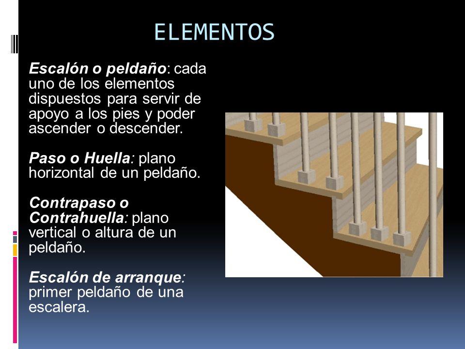 ELEMENTOS Escalón o peldaño: cada uno de los elementos dispuestos para servir de apoyo a los pies y poder ascender o descender.