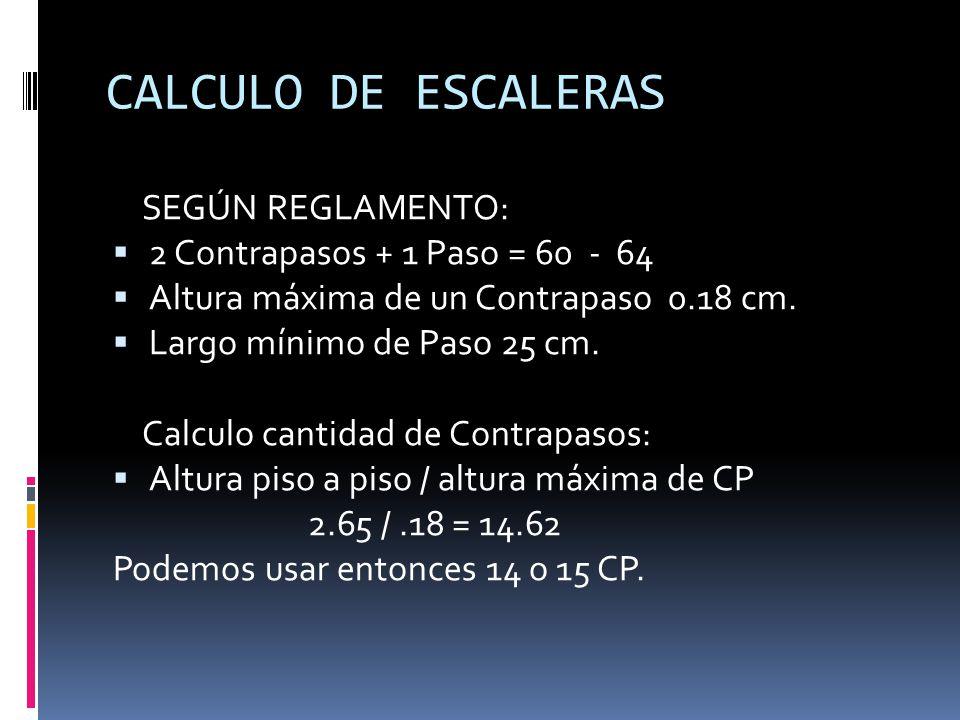 CALCULO DE ESCALERAS SEGÚN REGLAMENTO: