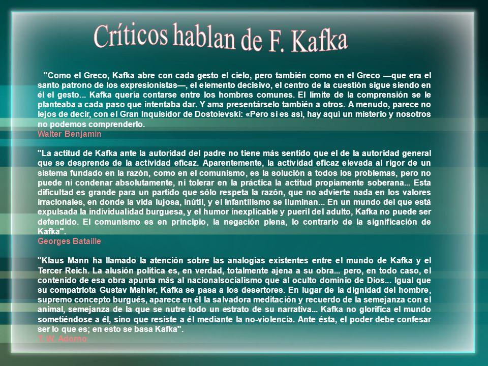 Críticos hablan de F. Kafka