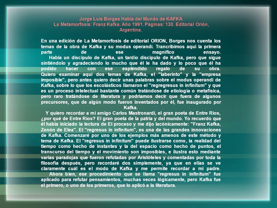 Jorge Luis Borges Habla del Mundo de KAFKA
