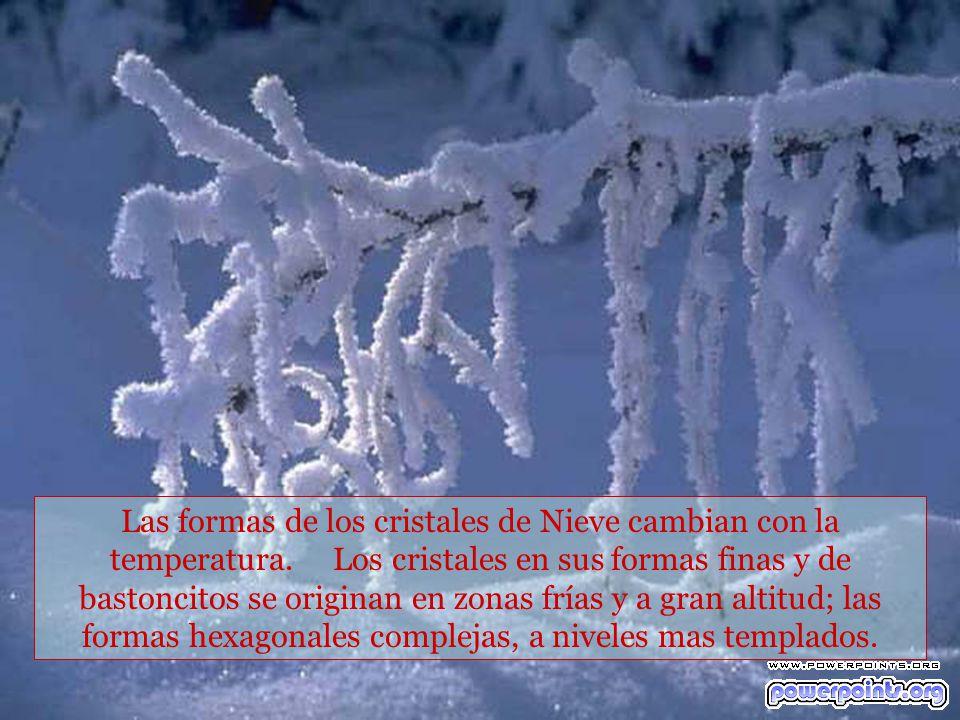 Las formas de los cristales de Nieve cambian con la temperatura