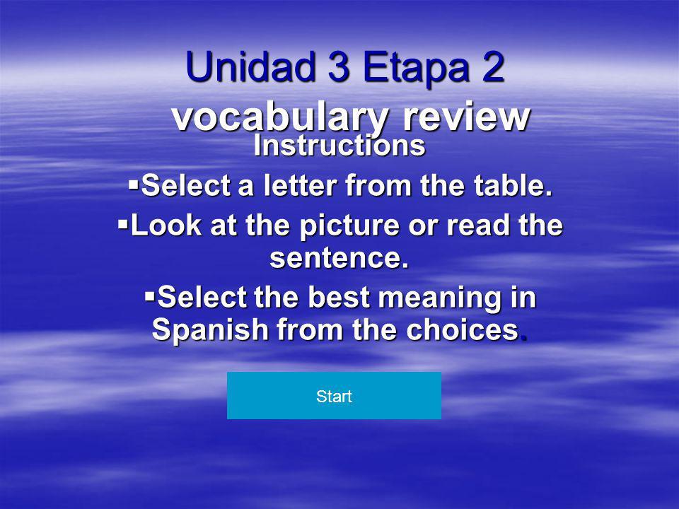 Unidad 3 Etapa 2 vocabulary review