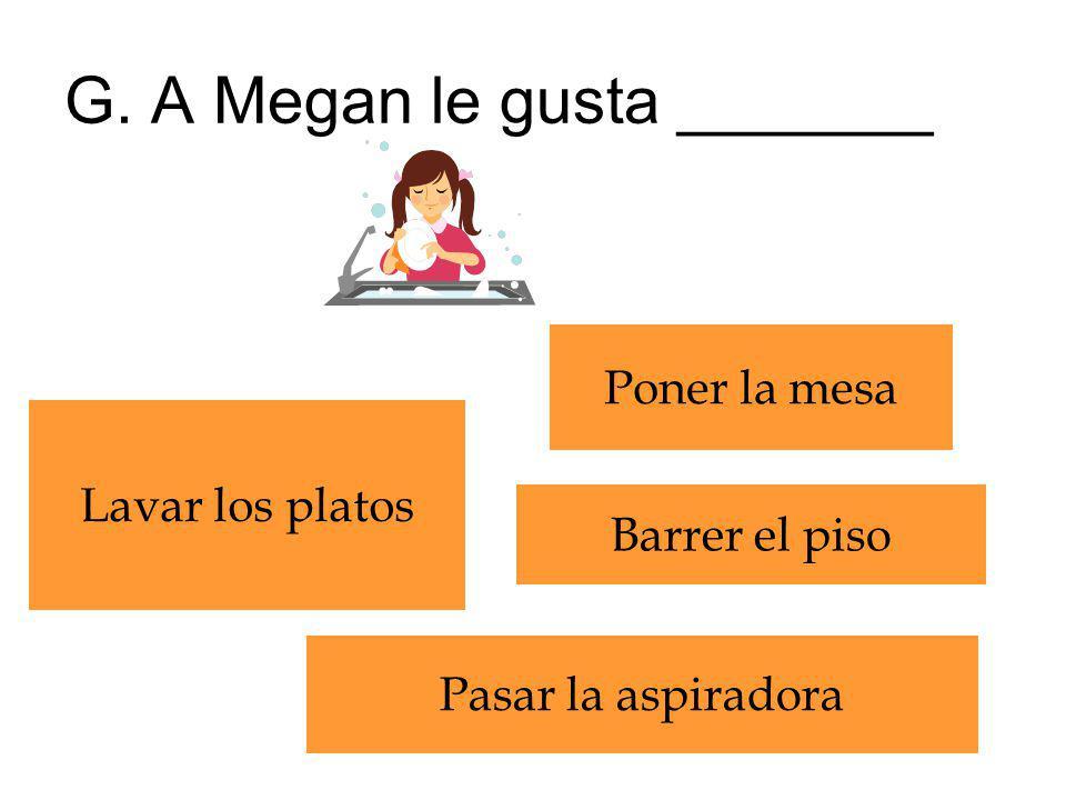 G. A Megan le gusta _______