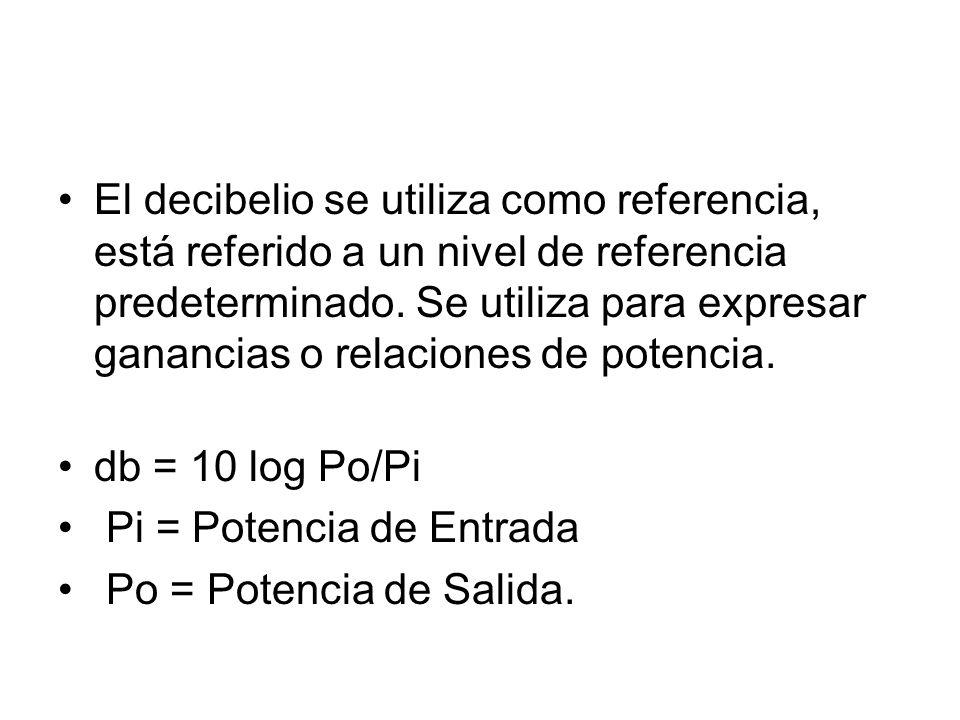 El decibelio se utiliza como referencia, está referido a un nivel de referencia predeterminado. Se utiliza para expresar ganancias o relaciones de potencia.