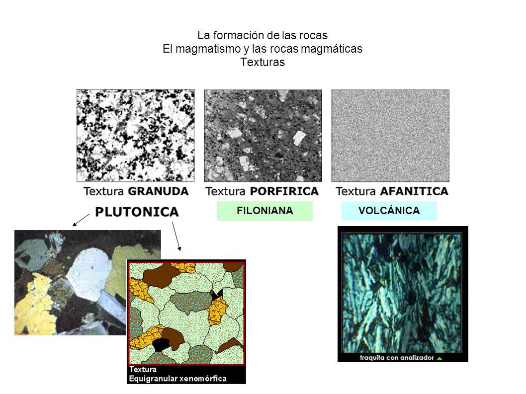 La formación de las rocas El magmatismo y las rocas magmáticas Texturas