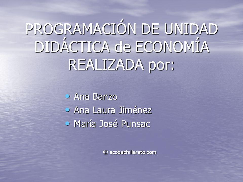 PROGRAMACIÓN DE UNIDAD DIDÁCTICA de ECONOMÍA REALIZADA por: