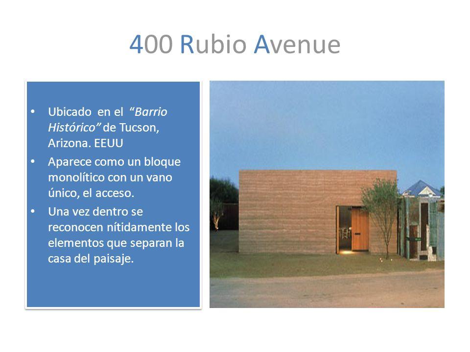 400 Rubio Avenue Ubicado en el Barrio Histórico de Tucson, Arizona. EEUU. Aparece como un bloque monolítico con un vano único, el acceso.