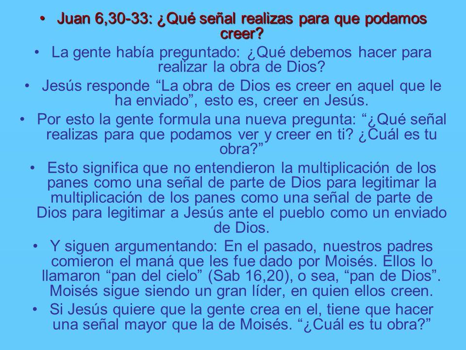 Juan 6,30-33: ¿Qué señal realizas para que podamos creer