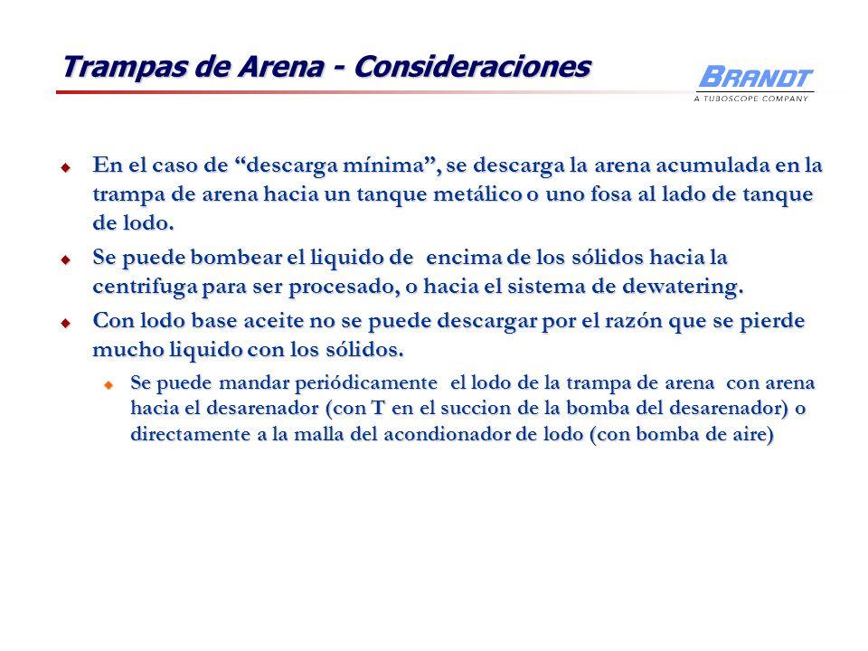 Trampas de Arena - Consideraciones
