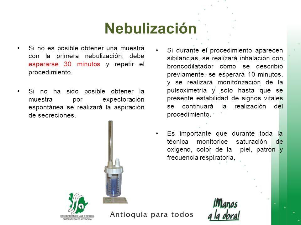 Nebulización Si no es posible obtener una muestra con la primera nebulización, debe esperarse 30 minutos y repetir el procedimiento.