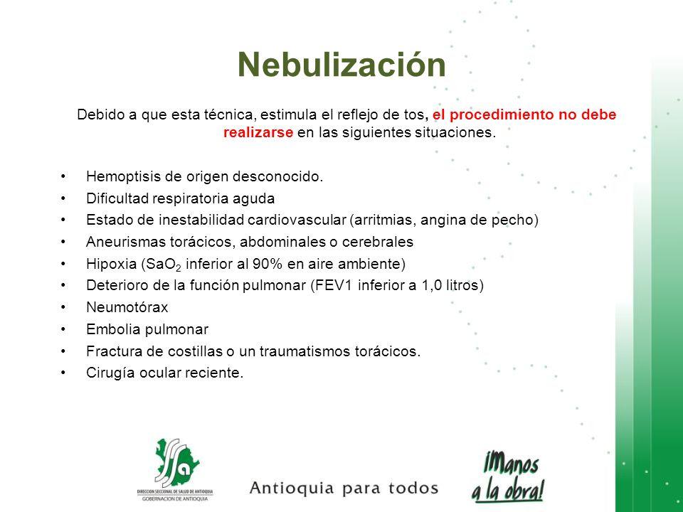 Nebulización Debido a que esta técnica, estimula el reflejo de tos, el procedimiento no debe realizarse en las siguientes situaciones.