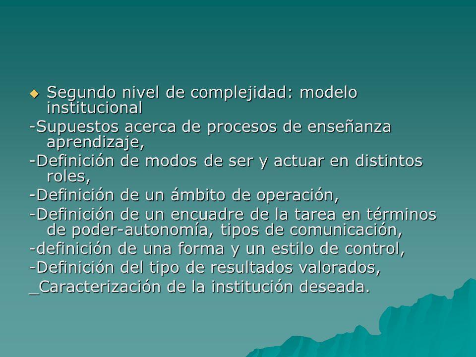 Segundo nivel de complejidad: modelo institucional