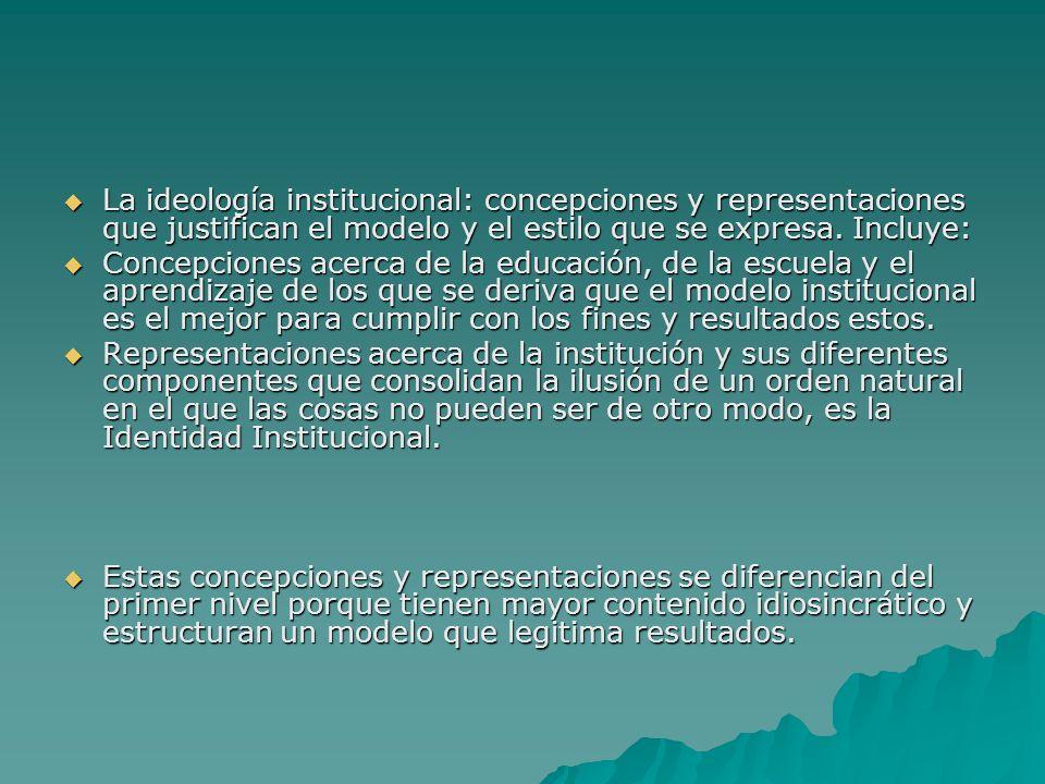 La ideología institucional: concepciones y representaciones que justifican el modelo y el estilo que se expresa. Incluye: