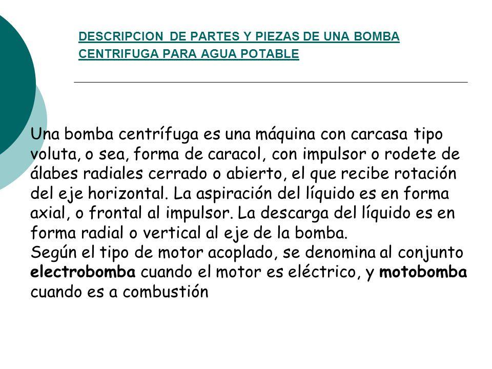 DESCRIPCION DE PARTES Y PIEZAS DE UNA BOMBA CENTRIFUGA PARA AGUA POTABLE