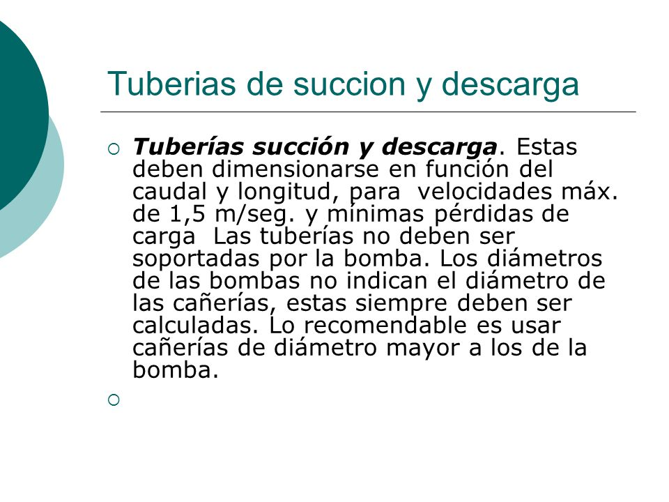 Tuberias de succion y descarga