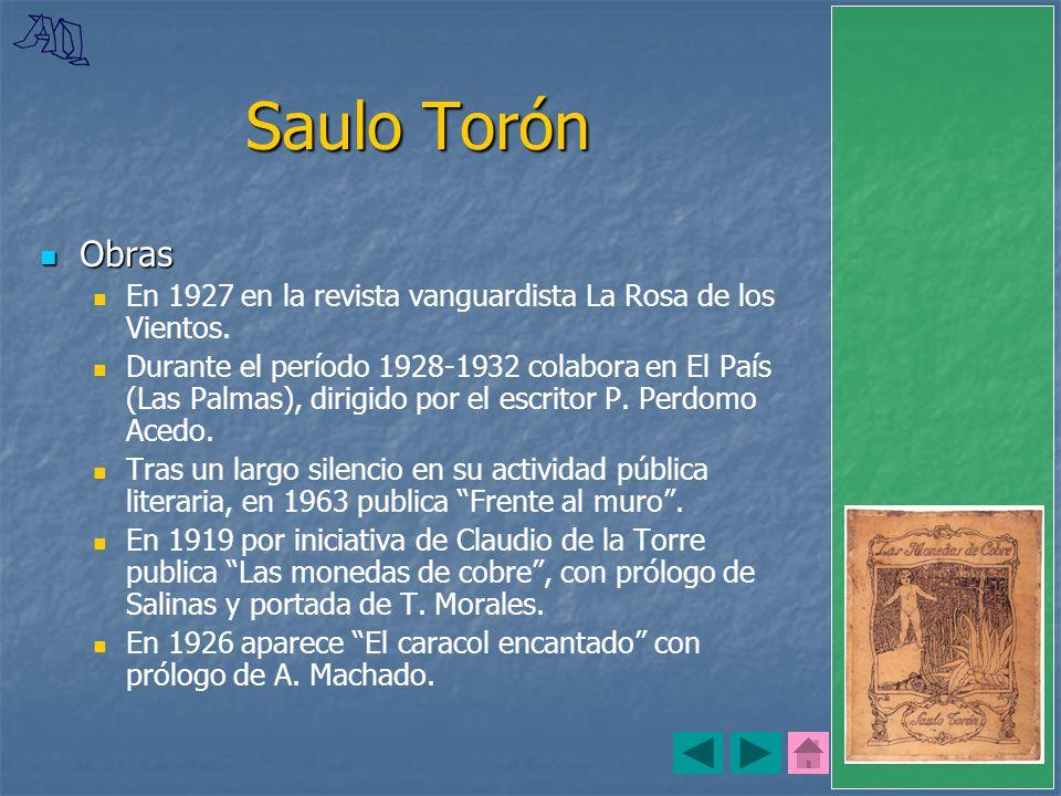 Saulo Torón Obras. En 1927 en la revista vanguardista La Rosa de los Vientos.