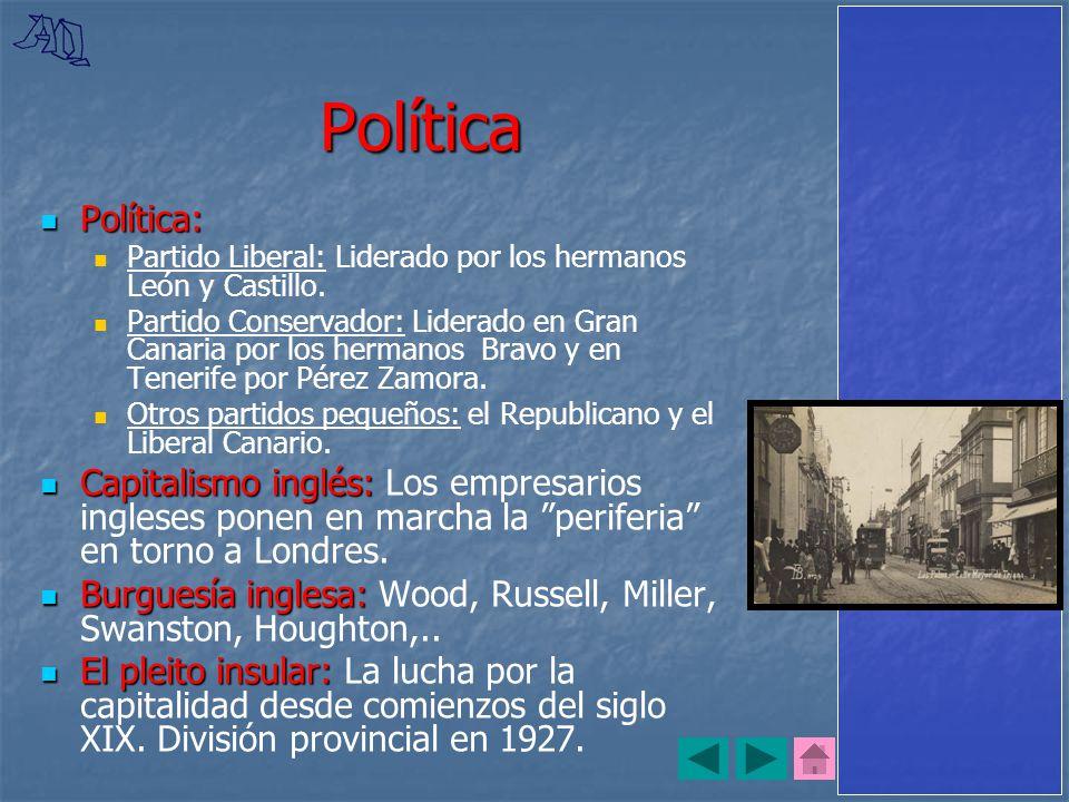 Política Política: Partido Liberal: Liderado por los hermanos León y Castillo.