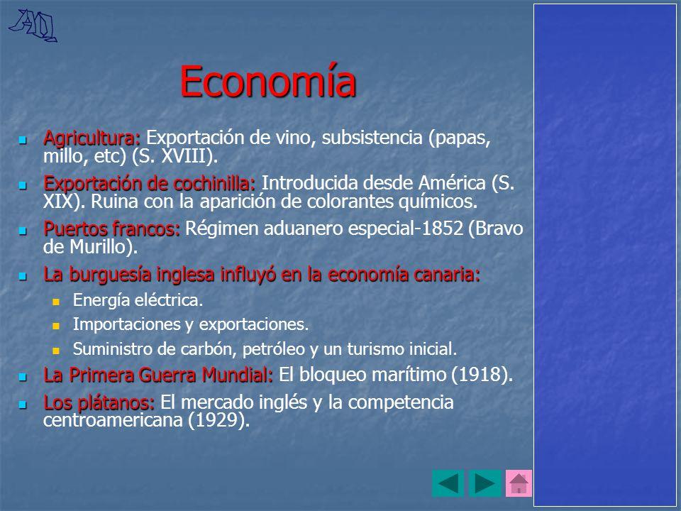Economía Agricultura: Exportación de vino, subsistencia (papas, millo, etc) (S. XVIII).