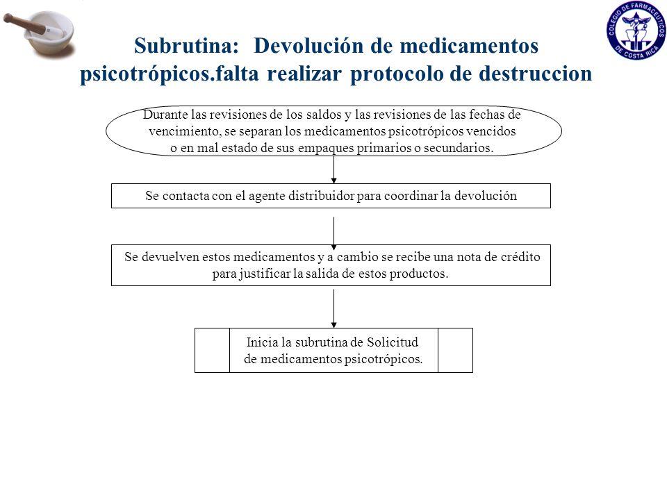 Subrutina: Devolución de medicamentos psicotrópicos