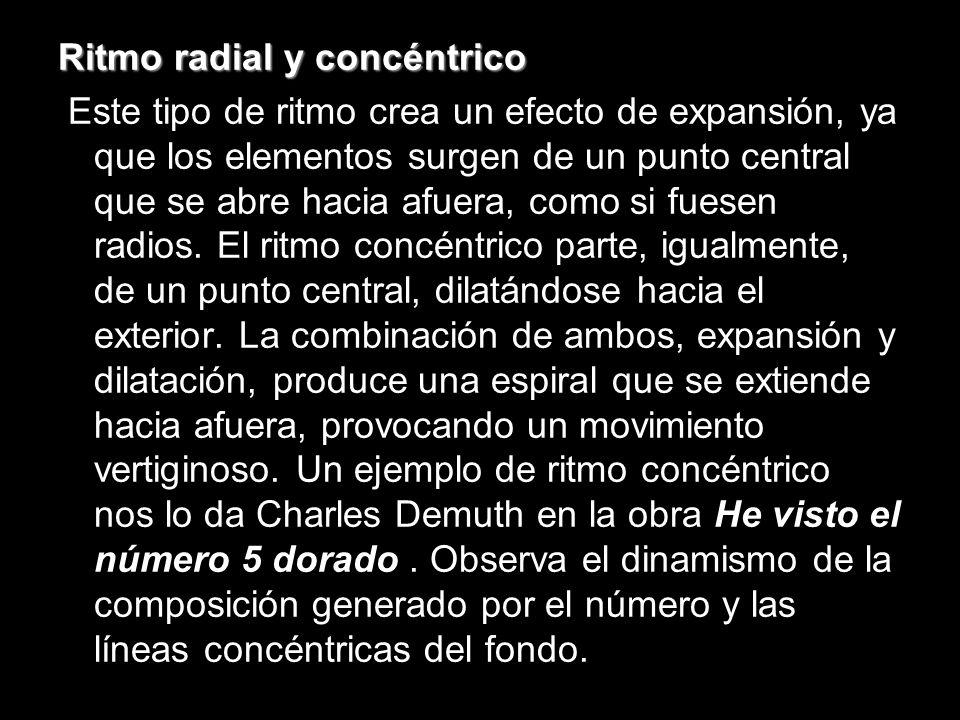 Ritmo radial y concéntrico Este tipo de ritmo crea un efecto de expansión, ya que los elementos surgen de un punto central que se abre hacia afuera, como si fuesen radios.