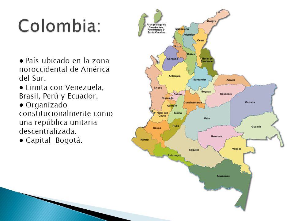 Colombia: ● País ubicado en la zona noroccidental de América del Sur.