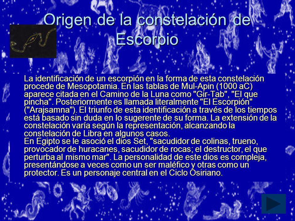 Origen de la constelación de Escorpio