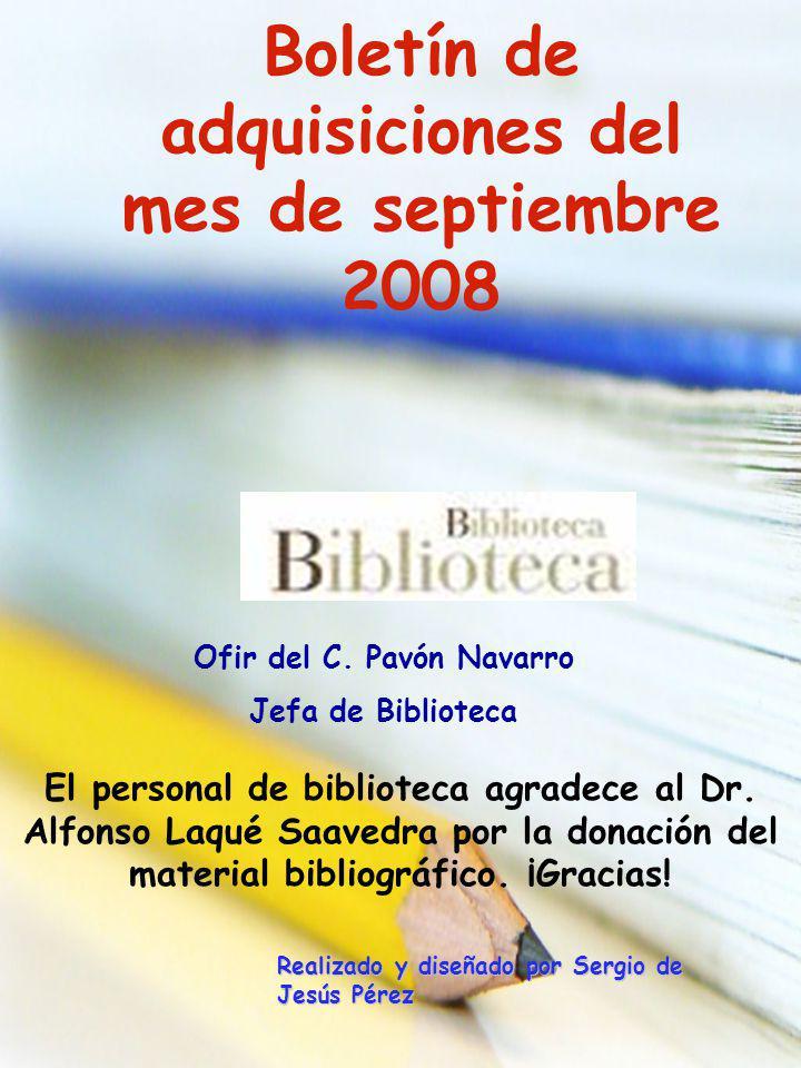 Boletín de adquisiciones del mes de septiembre 2008