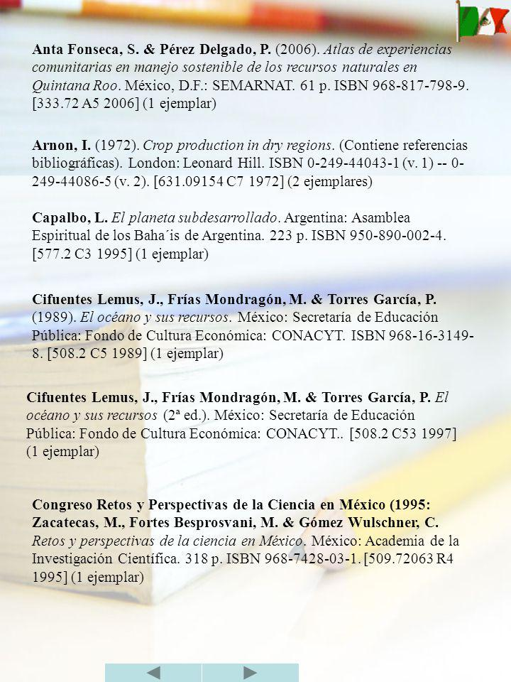 Anta Fonseca, S. & Pérez Delgado, P. (2006)