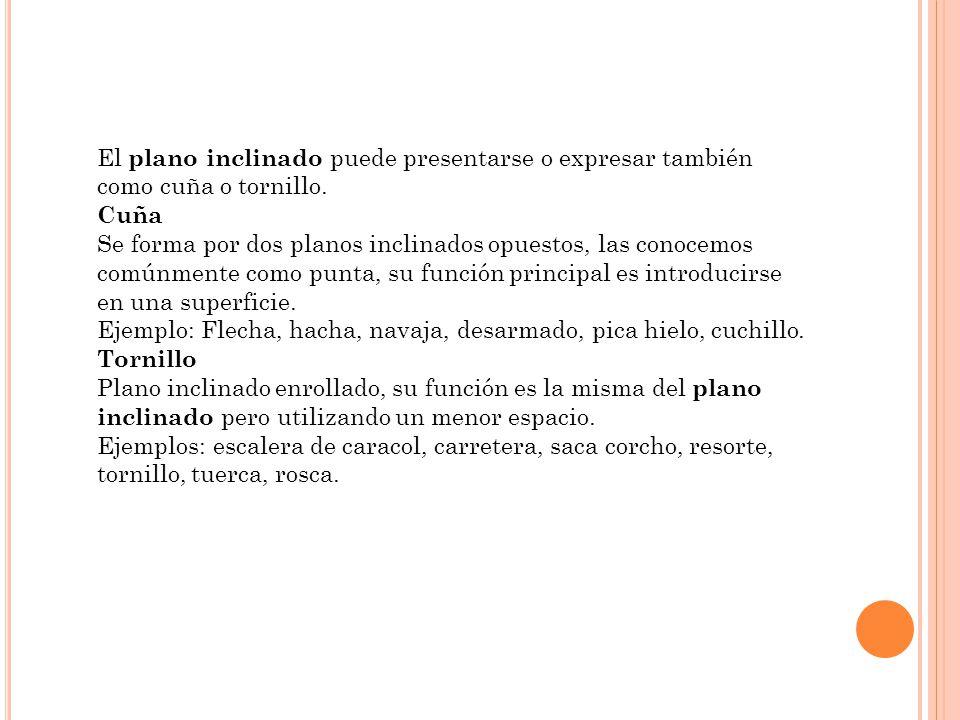El plano inclinado puede presentarse o expresar también como cuña o tornillo.