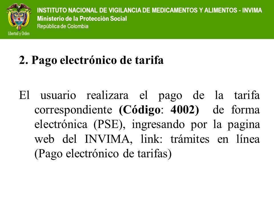 2. Pago electrónico de tarifa