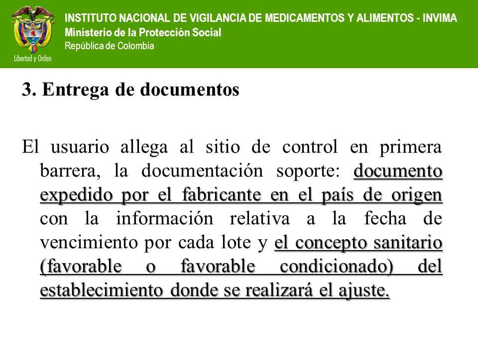 3. Entrega de documentos