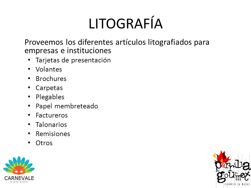 LITOGRAFÍA Proveemos los diferentes artículos litografiados para empresas e instituciones. Tarjetas de presentación.