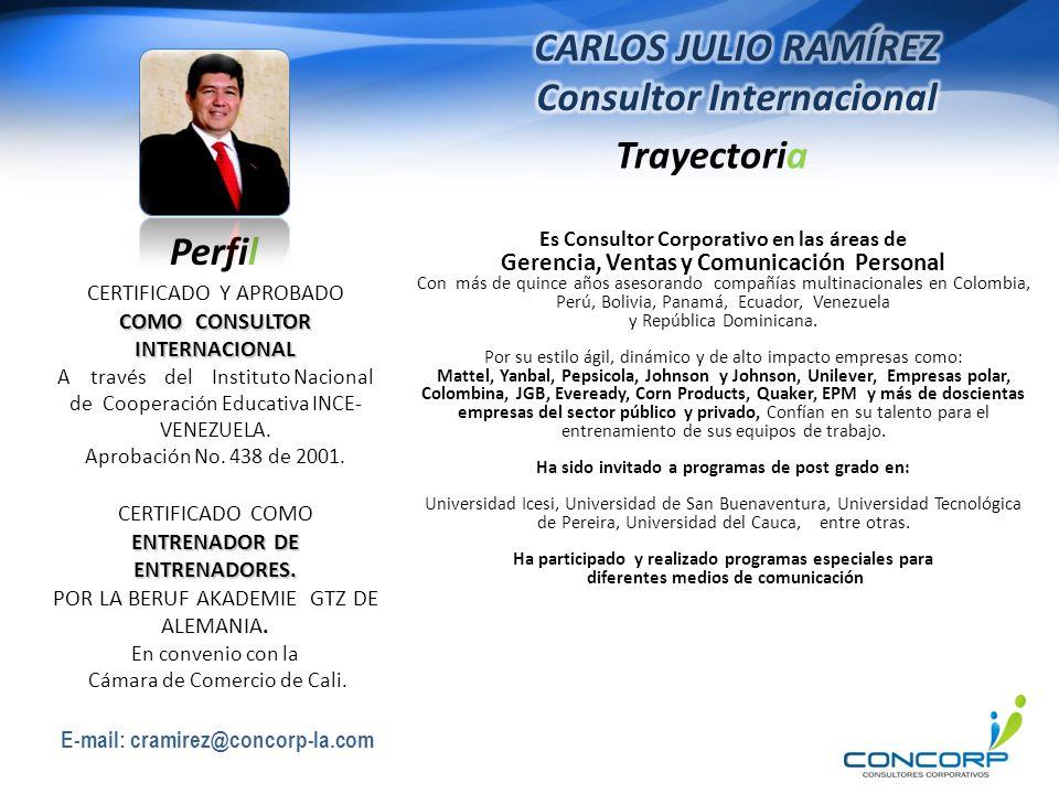 CARLOS JULIO RAMÍREZ Consultor Internacional Perfil