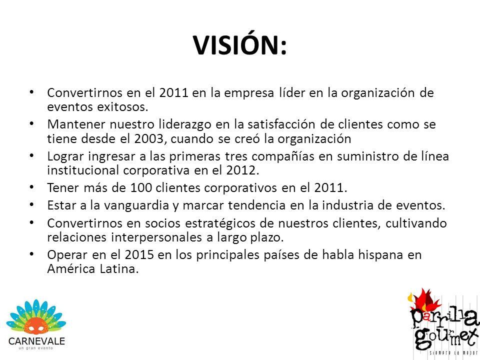VISIÓN: Convertirnos en el 2011 en la empresa líder en la organización de eventos exitosos.