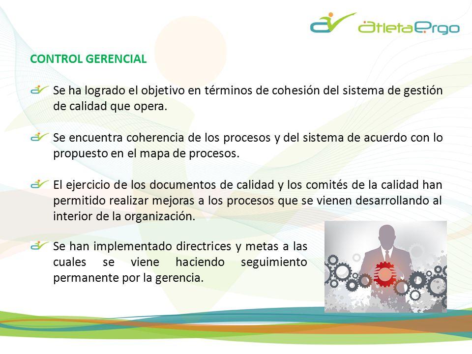 CONTROL GERENCIAL Se ha logrado el objetivo en términos de cohesión del sistema de gestión de calidad que opera.