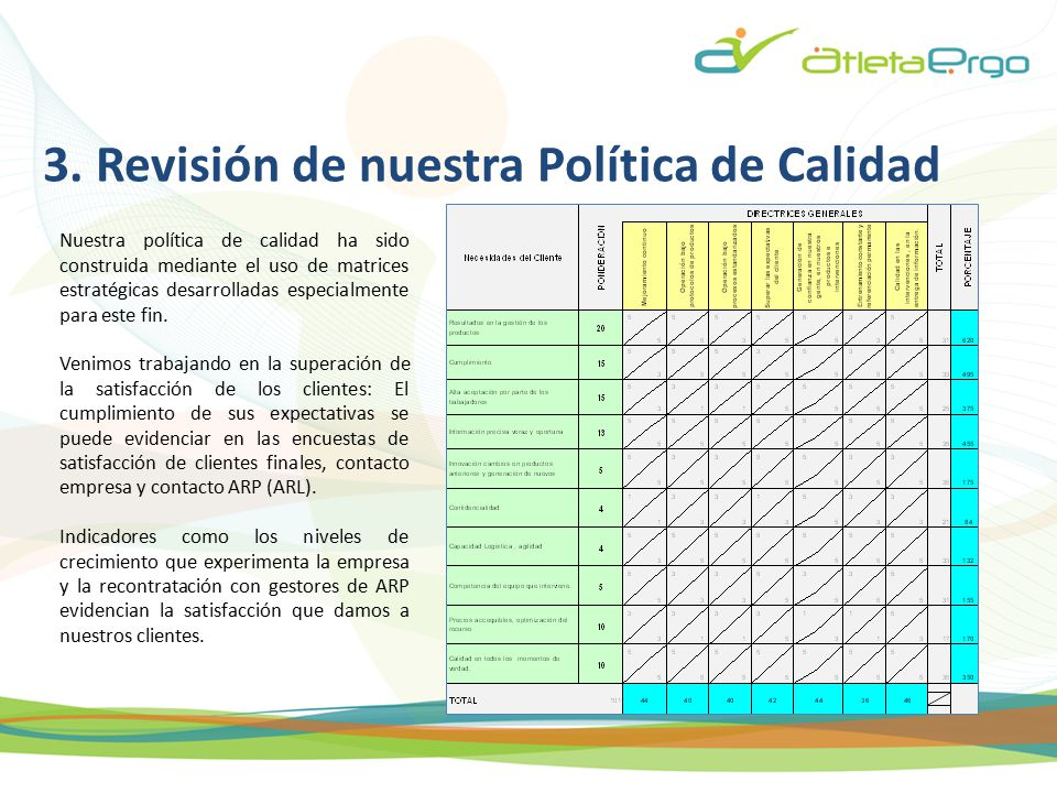 3. Revisión de nuestra Política de Calidad