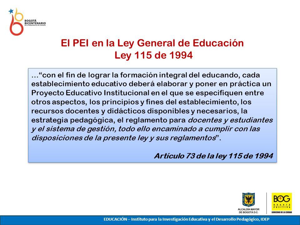 El PEI en la Ley General de Educación Ley 115 de 1994