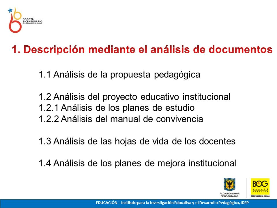 1. Descripción mediante el análisis de documentos